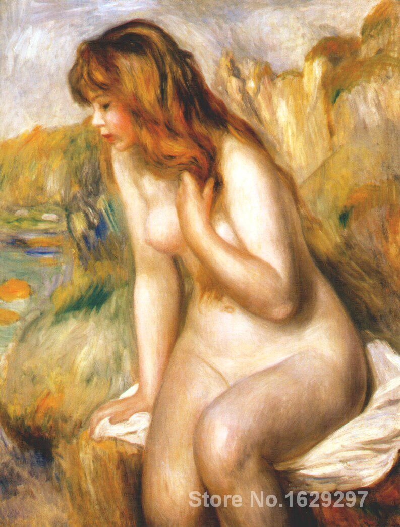 buy canvas paintings Pierre Auguste Renoir reproduction Bather seated on a rock hand painted High qualitybuy canvas paintings Pierre Auguste Renoir reproduction Bather seated on a rock hand painted High quality