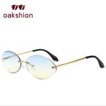 Mulheres Tendência Pequeno Quadro Oval Óculos De Sol Moda Masculina Pequena  Lente Sem Aro Óculos de 6568cee54b