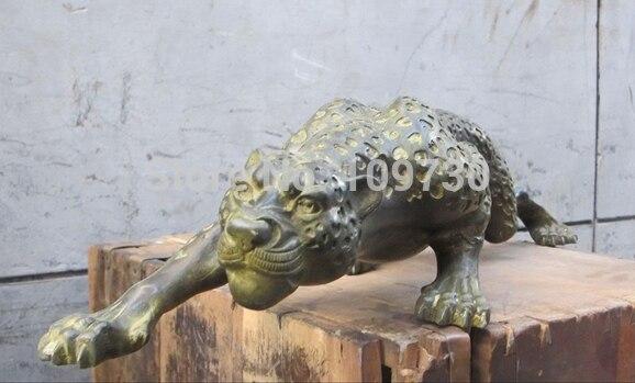 001189 28 Chinois Folk Classique bronze travail manuel sculpté Léopard sauvage animal statue - 6