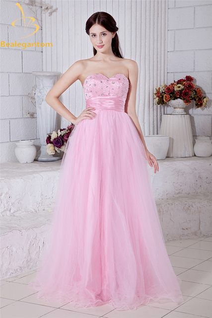Bealegantom Princess Pink Crystal A-Line Evening Dresses 2018 With Beading  Sequined Formal Party Prom 917af8ca7b5c