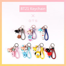 Cute Cartoon BT21 Keychain BTS Animal Bag Pendant Key Ring Holder Accessory Pendant Charm for Boys Girls Fans Collection(China)