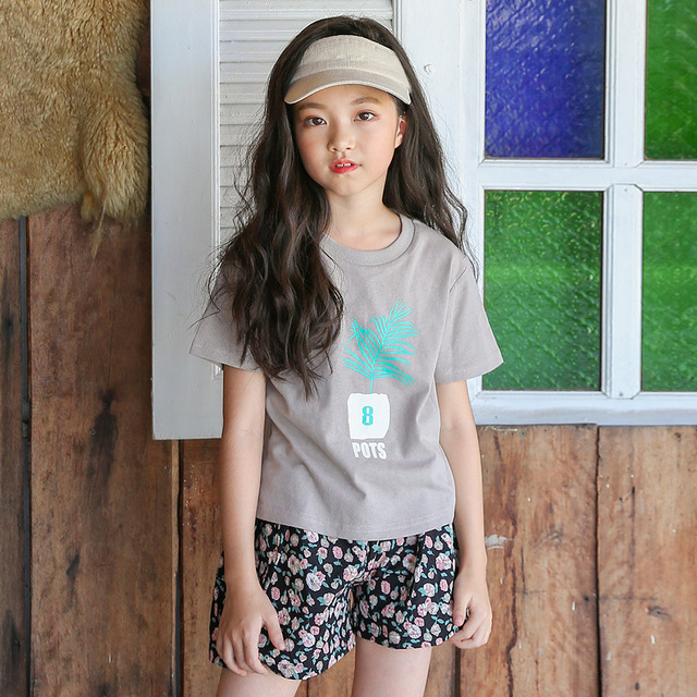 2018 Summer Kids Girl Lolly T Shirt Tops Floral Shorts Pants Outfit