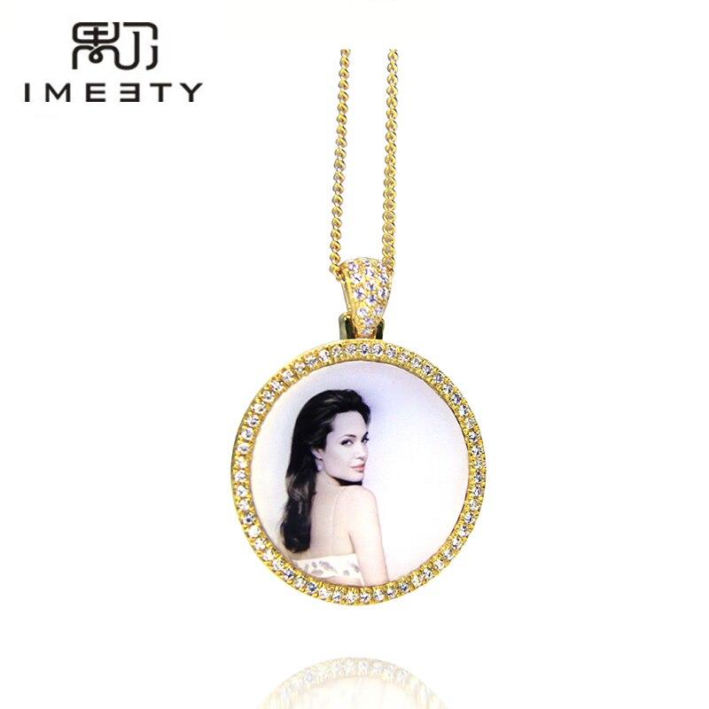 IMEETY personalized photo charm necklace cubic zircons bling  circle photo charm pendant customized any photo engraved freePendant  Necklaces