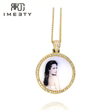 IMEETY personalized photo charm necklace cubic zircons bling circle photo charm pendant customized any photo engraved free