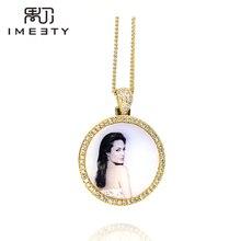 Imeity شخصية صورة حلية قلادة مكعب الزركون بلينغ دائرة صورة قلادة charm مخصصة أي صورة محفورة الحرة