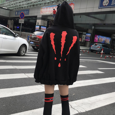 The new long section hooded jacket Harajuku bts relaxed men and women Long sleeve pullover with hoodie and hoodie.