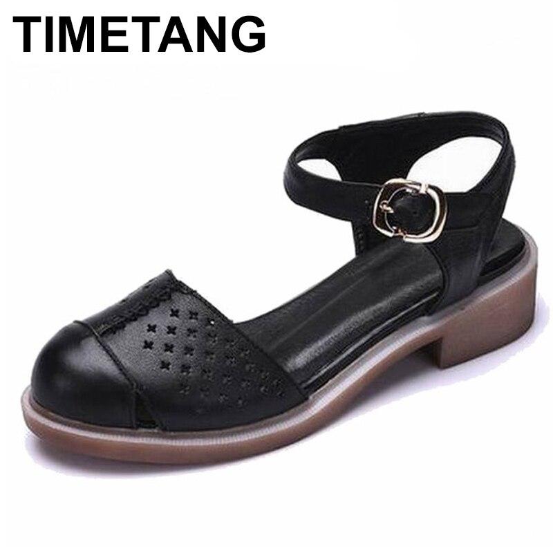 TIMETANG Femmes chaussures d'été sandales femmes à la main en cuir véritable femmes décontracté confortable chaussures femme sandales femmes