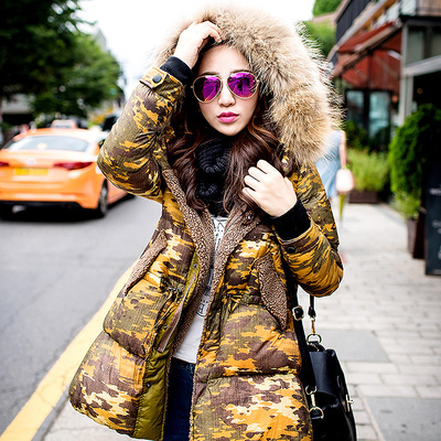 European Style New 2015 Winter Women Coat Leopard Thick Jacket Female Hooded Parkas Fur Collar Outerwear Tops H4612 new arrival parkas winter warm women coat hooded fur collar outerwear female thick wadded jacket spliced casual style overcoat