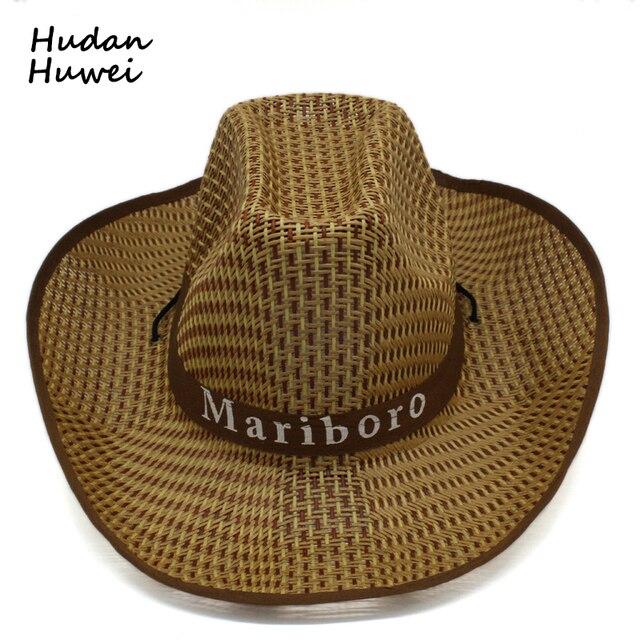 summer Plaid straw Western Cowboy Hats Trend wide brim Sunhat Tourist Cap  Outdoor panama cap beach chapeau for men women f53286032e56