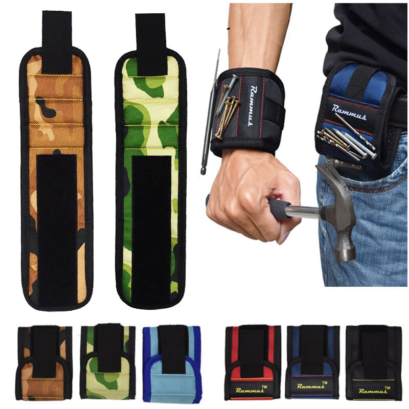 Strong Magnetic Magnet Wristband Pocket Wrist Support Tool Bag Hand Bracelet Pouch Bag Screws Drill Holder Holding Hand Toolkit