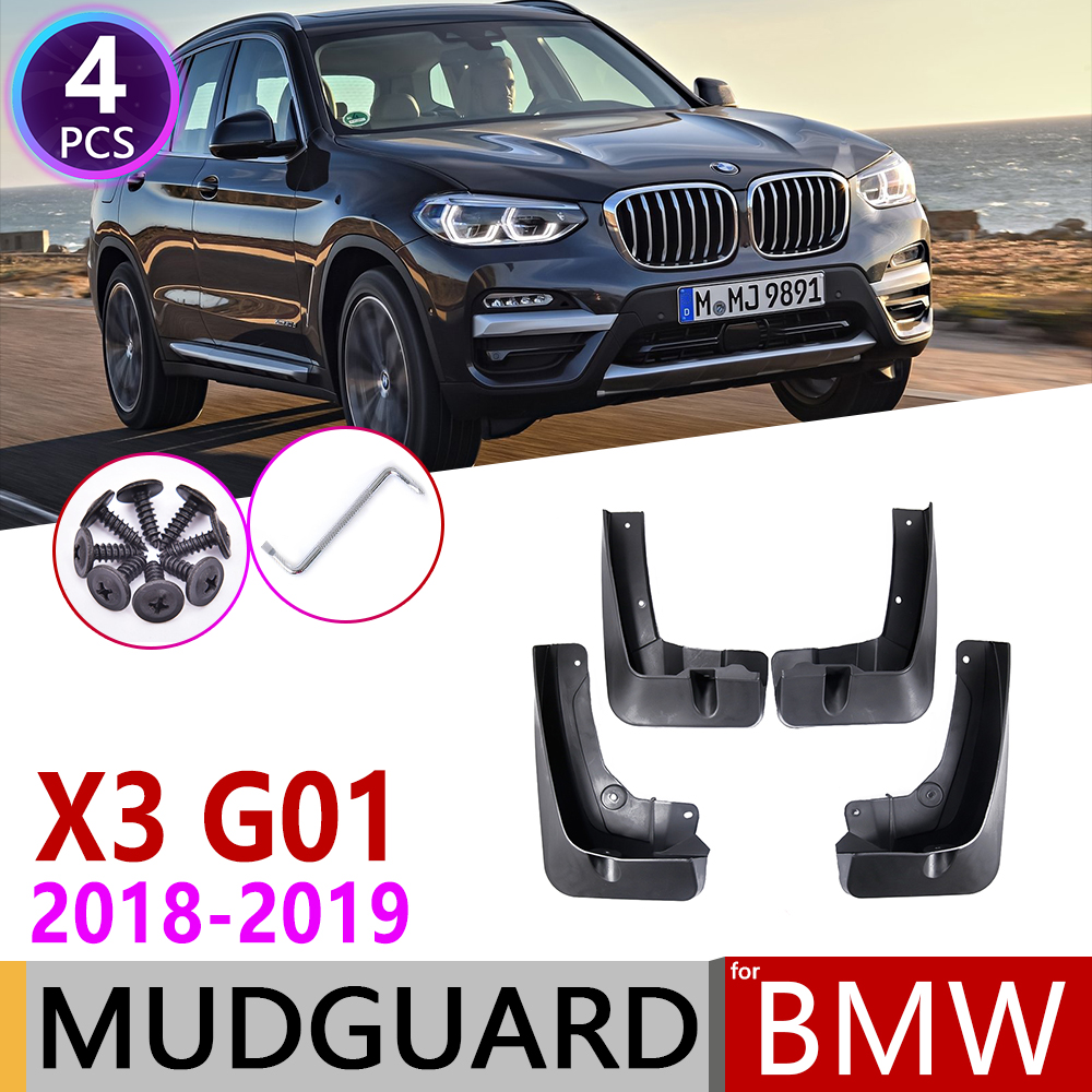4 PCS For <font><b>BMW</b></font> <font><b>X3</b></font> G01 <font><b>2018</b></font>~2019 Front Rear Car Mudguard Mudflap Fender Mud Guard Flaps Splash Flap Mudguards <font><b>Accessories</b></font> image