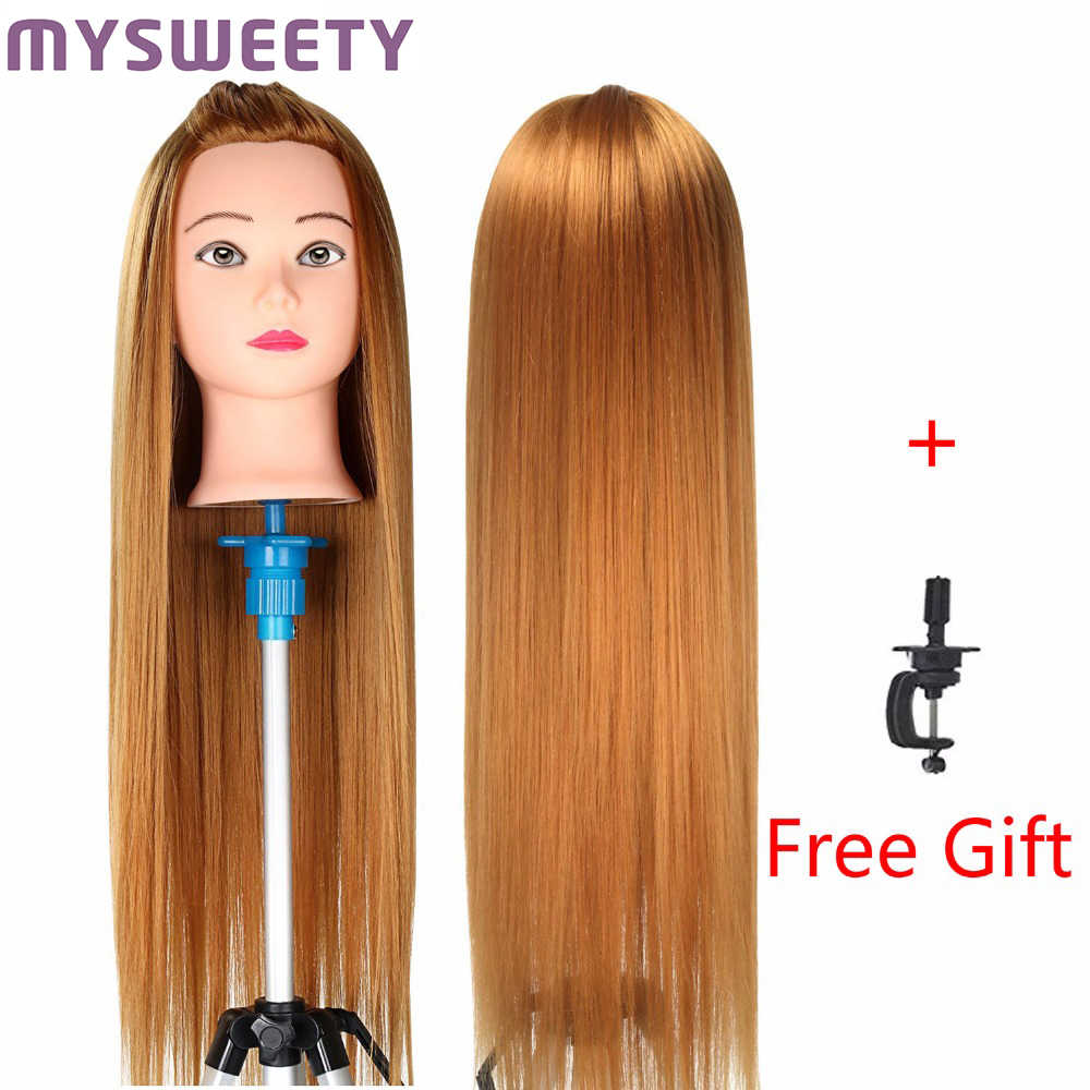 23 inch Hair Styling Mannequin Head Golden Hair Long Hair Hairstyle Hairdressing Training Doll Female Mannequins