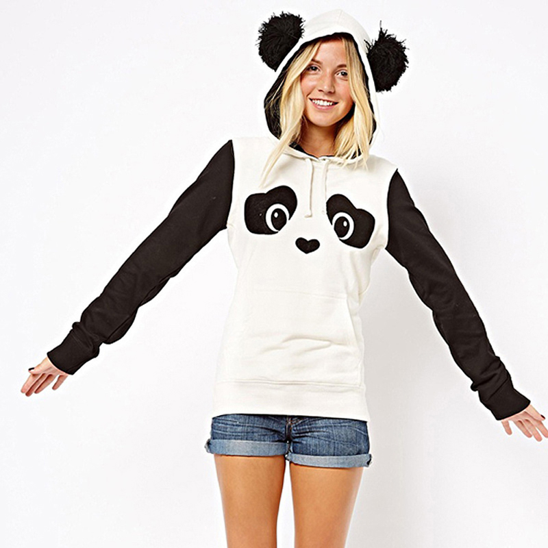 2017 Neue Mode Hohe Qualität Frauen Winter Warm Panda Fleece Pullover Jumper Mit Kapuze Pullover Mantel Tops Preisnachlass