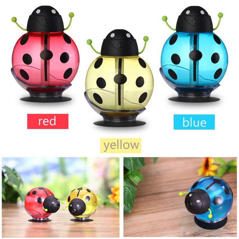Mini Cartoon Air Humidifiers 360 Rotation Air Diffuse With LED Night Light Suitable For Family & Office & Car Humidifier ladybird shape humidifiers cartoon nebulizer suitable for car