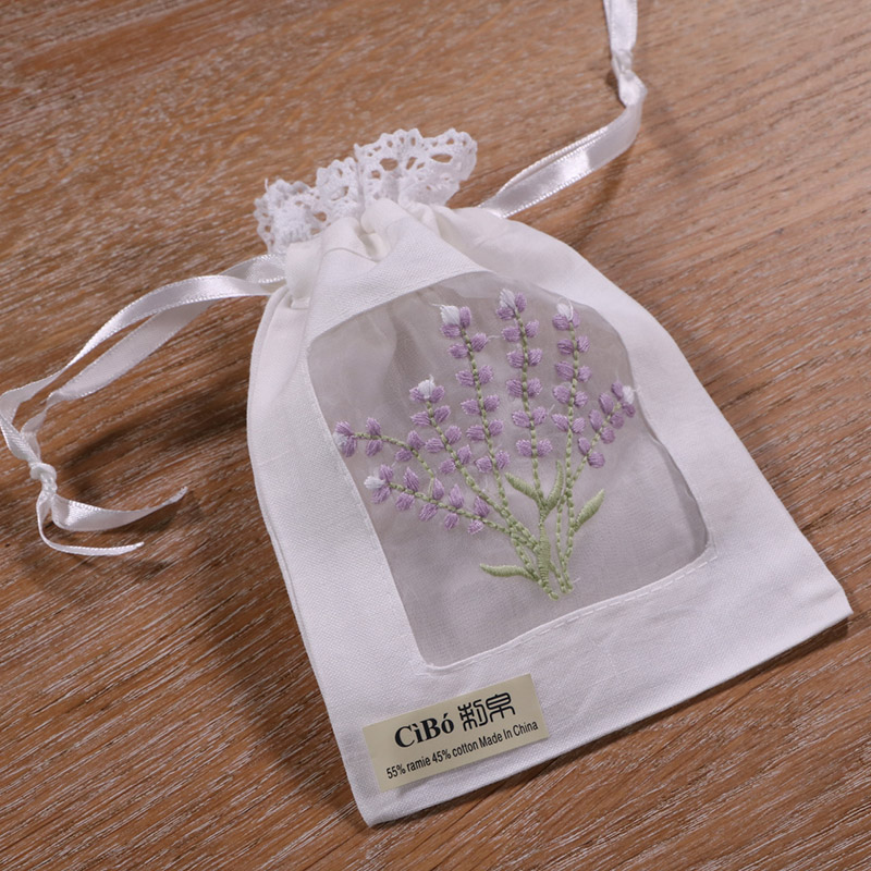 B011 : 1 Piece White Ramie/cotton  Embroidery Lavender Gift Bags Lace Edge  Storage Bags  5x7 Inches Sachet Bags, Travel Pouch