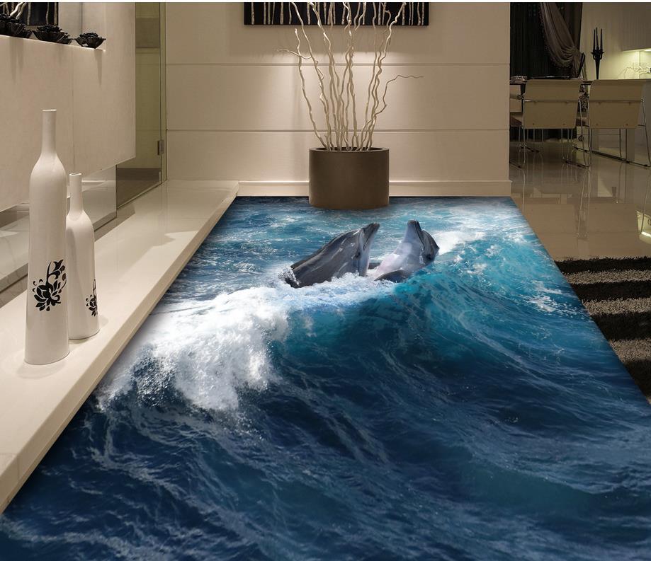 3d floor painting wallpaper 3d dolphin flooring waterproof - Waterproof floor paint for bathrooms ...