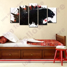 Japanese Abstract Cartoon Poster Dinosaur 5 Pieces Wall Art Canvas Print Monster Animal Painting for Game Room Lobby Decor