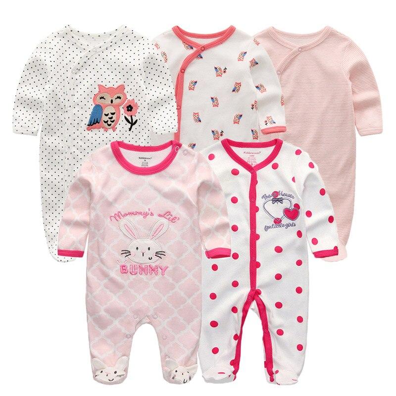5 pçs/lote New Newborn Manga Comprida Baby Rompers Da Criança Macacão Infantil do bebê da menina do menino roupas