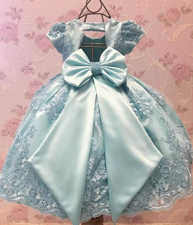 Sky Blue Lace Short Sleeve Baby Girls Birthday Party Dresses with Big Bow Flower Girls Dresses for Wedding 12M-24MSky Blue Lace Short Sleeve Baby Girls Birthday Party Dresses with Big Bow Flower Girls Dresses for Wedding 12M-24M
