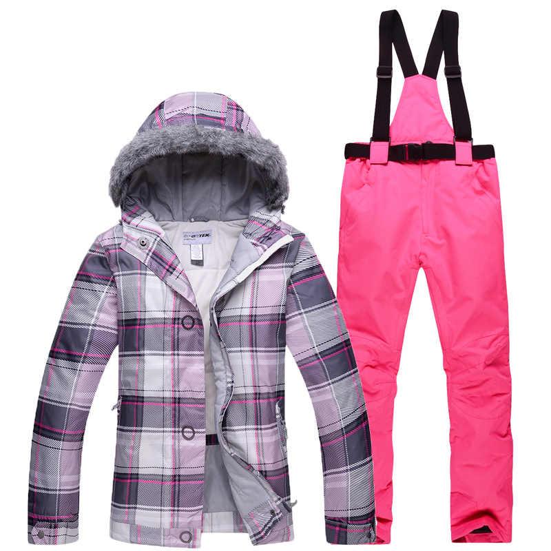 Chapeau de cheveux pas cher meilleures filles combinaison de neige ensembles de snowboard imperméable coupe-vent respirant neige Gear veste de ski + bavoir pantalon de ski femmes