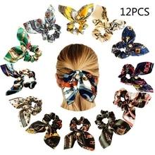 цена на Vintage Fashion Fresh Headband Elegant Women Twist Hairband Cute Rabbit Ears Bowknot Leaf Floral Print Large Intestine Turban