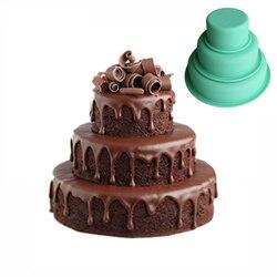 3 Tier silikonowe forma do pieczenia koło okrągły kształt duży tort forma DIY pieczenia narzędzia do pieczenia ciasta towarów do kuchni