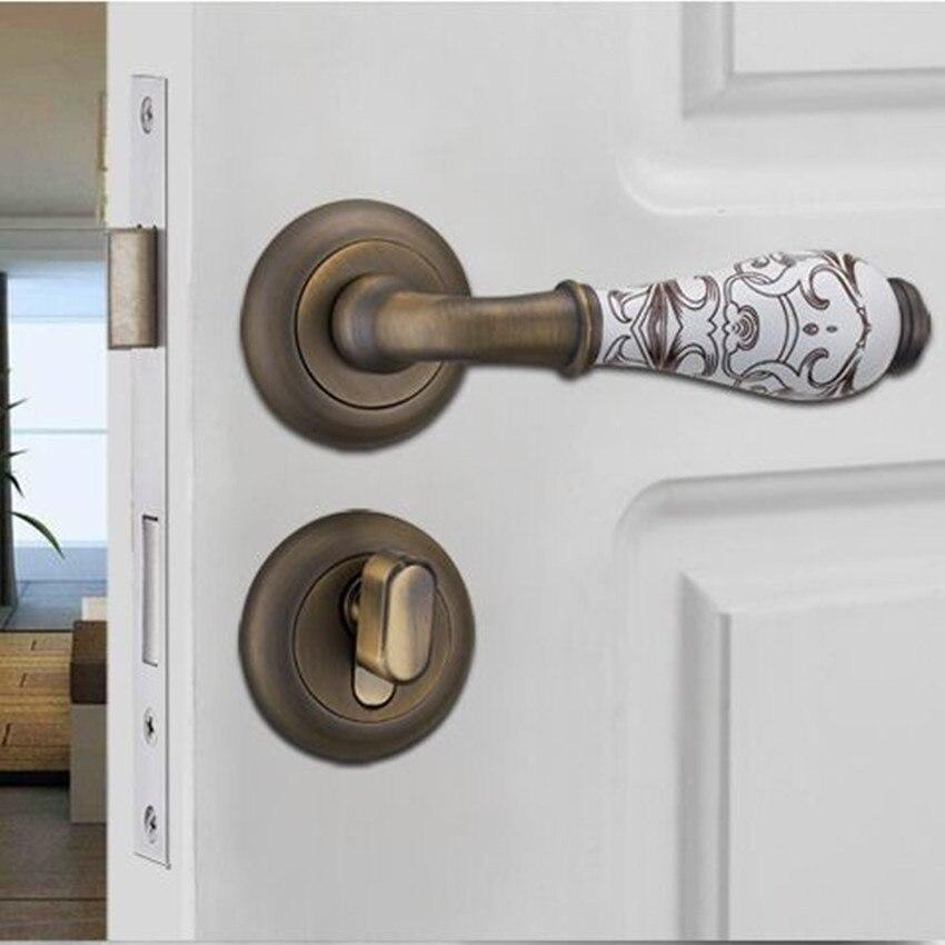 Maniglie In Ceramica Per Porte Interne.Moderno Modo Semplice Stampa Oro Ceramica Maniglia Interna Serratura