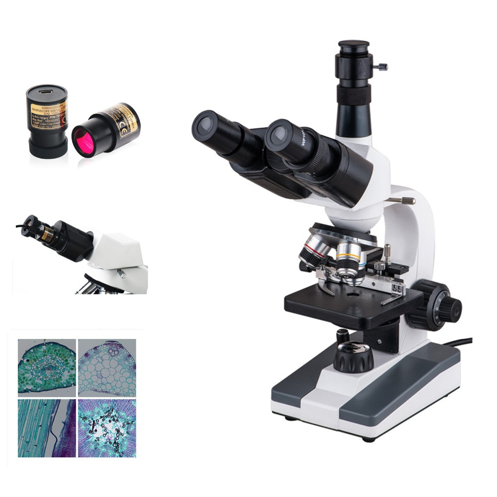 AMDSP XP903 Trinocular Biological Microscopes with 5mp Eyepiece Camera for Kids Students Educational Science Lab Microscopes