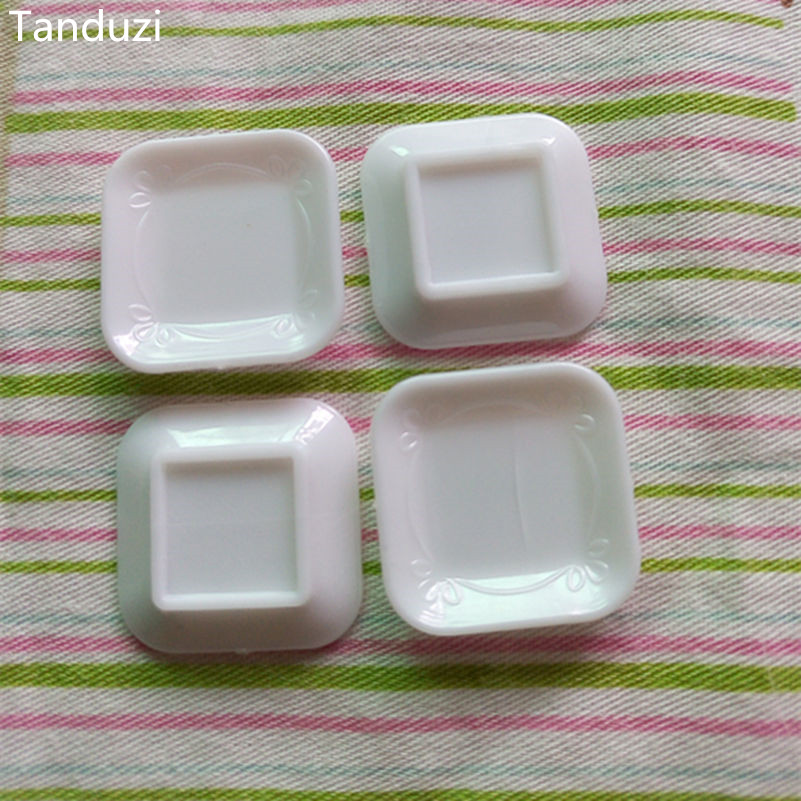 Tanduzi 20pcs Small White Square Plate DIY 112 Dollhouse Miniature Decoration Kitchen Utensils Accessories Plastic Crafts-in Figurines \u0026 Miniatures from ... : small square plates - pezcame.com