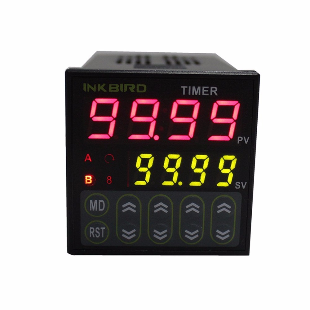 Inkbird 0.01s-99h99m Digital Twin Timer Switch Relay Time Controller AC 100 - 240V Black IDT-E2RH b2e 2r 24 0 01s 99h99m twin timer time delay 2 relay output dc ac 12 24v