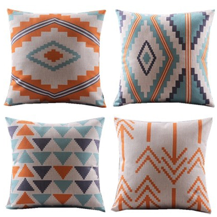 New design4pcsblue orangetriangles chevron wave zigzag decorative