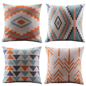 New design/4pcs/blue orange/triangles chevron wave zigzag decorative cushion cover/throw pillow case/cotton and linen/geometric