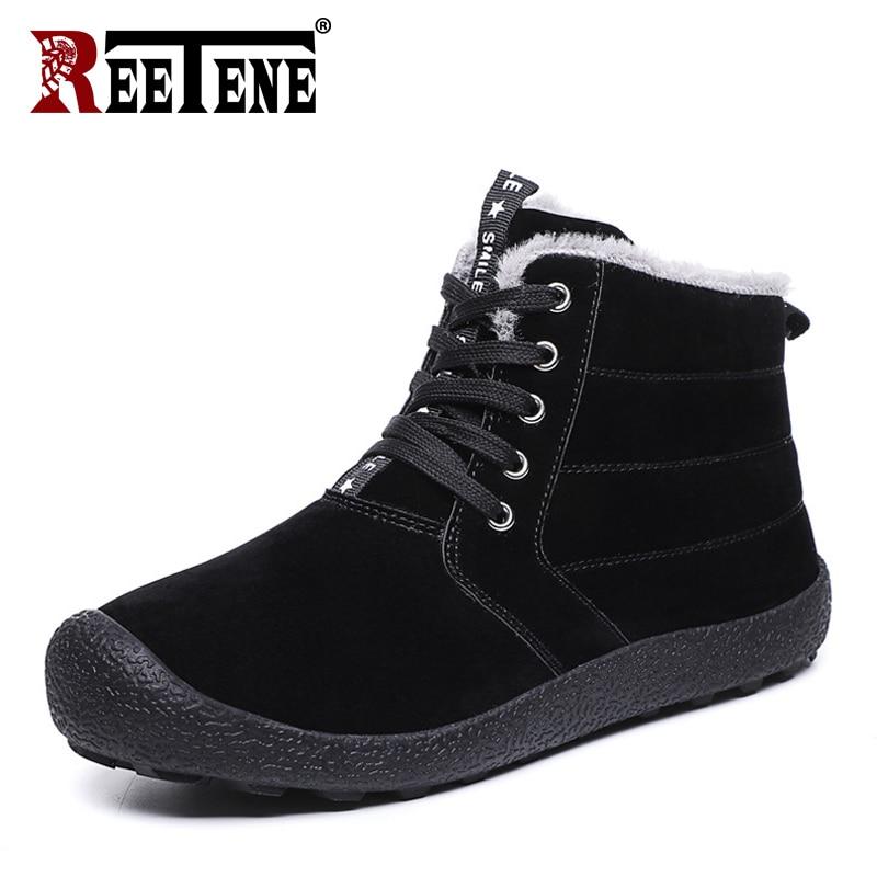 REETENE REETENE New Fashion Men Winter Boots Solid Color Snow Boots Shoes Ankle Men Shoes Keep Warm Waterproof Boots Men