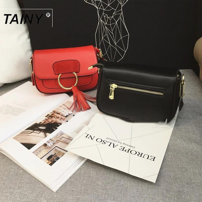 2017 New Arrival Tainy Saddle Genuine Leather Cow Leather Shoulder Bags Shoulder & Crossbody Bags Genuine Leather Single Casual цены
