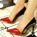 Sexy High Heel Shoes Two Colors Shiny Leather Stiletto Shoe Attractive Office Lady Pumps Spring Autumn Fashion Women Shoe