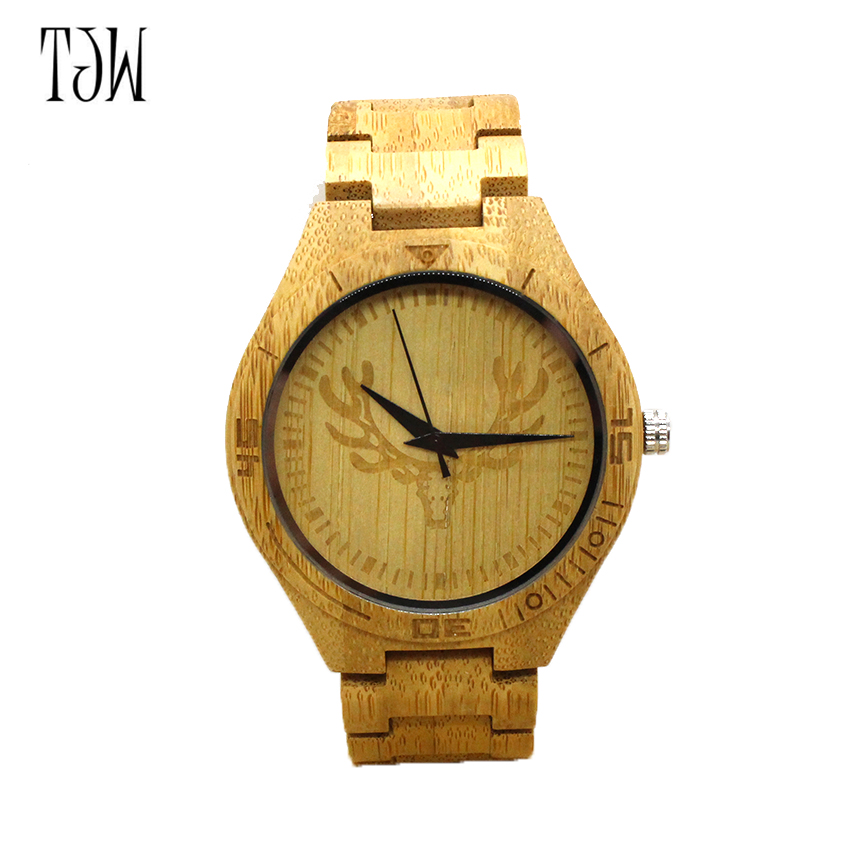 TJW Hot Selling Fashion Wood Watch Natrual Bamboo Wrist Watch With full wooden Bracelet Quartz Watch Men Clock Women Gift bobo bird brand new sun glasses men square wood oversized zebra wood sunglasses women with wooden box oculos 2017