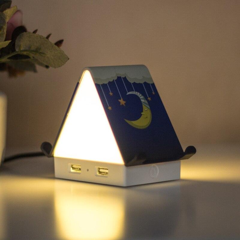 Tiny House Mini LED Night Light Multi-functional 4 Ports USB Hub Splitter Mobile