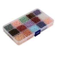 Gemengde Kleur Ronde Pearlized Glazen Pearl Kralen 0.4mm * 0.4mm * 0.4mm, 15 Kleuren/doos totaal 3600 stks voor DIY Armbanden
