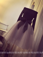 2015 New Spring Autumn Audrey Hepburn Suit 2 In 1 Tops Skirt Bowknot Full Sleeve T