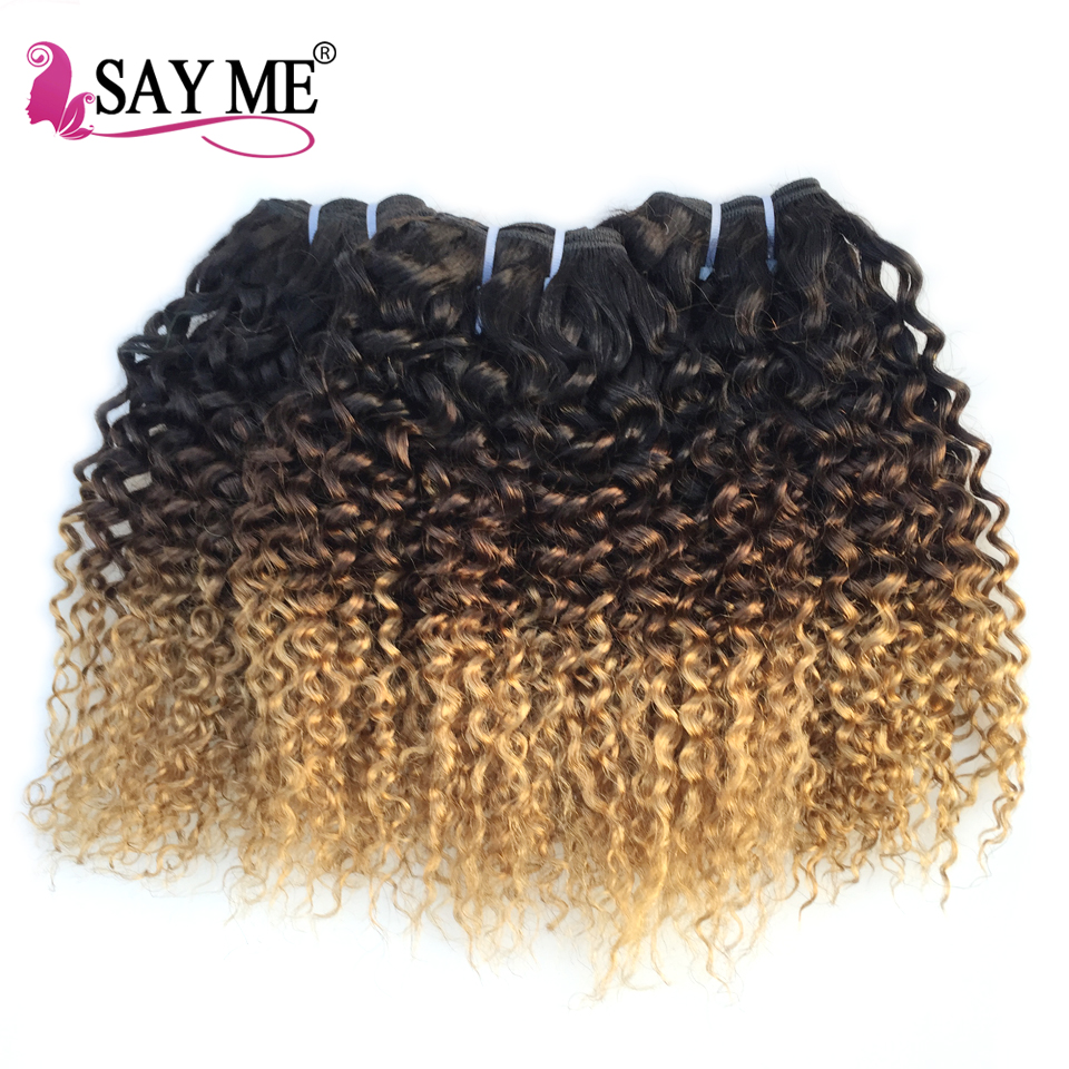 SAY ME Kinky Curly Hair 3 Bundles Deal 1B 4 27 Blonde Brazilian Hair Weave Bundles
