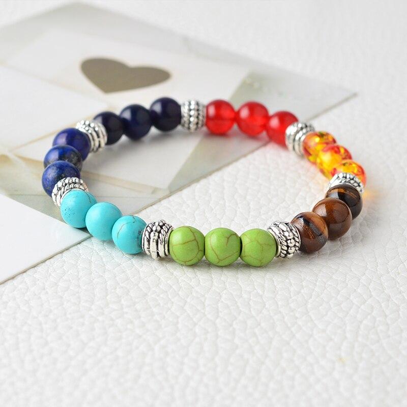 QIHE JOYERÍA Multicolor 7 Chakra Healing Balance Beads Pulsera Yoga - Bisutería - foto 3