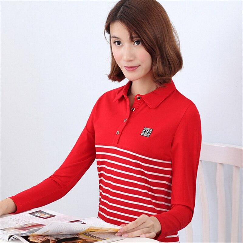 High Quality Plus Size Stripe Polo Shirt Women Brand Long Sleeve Casual Polo Shirts Women Tops polo Warm Slim polo shirt
