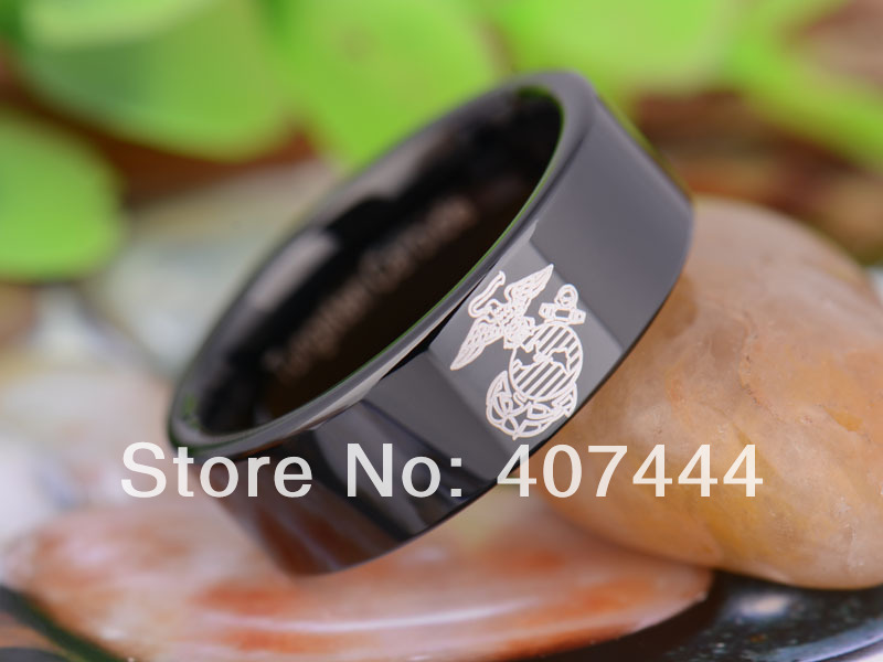 free shipping ygk jewelry hot sales 8mm black pipe military army marines new mens tungsten carbide - Military Wedding Rings