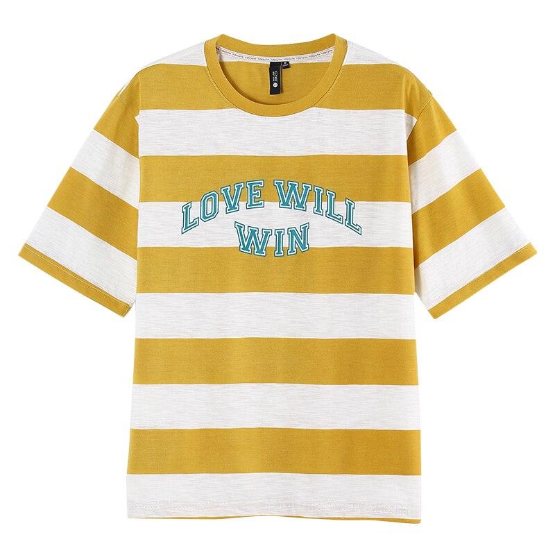 Toyouth Frauen Sommer Lose Brief Drucken T-shirt Kurzarm Baumwolle Breiten Streifen t-shirt Lose Beiläufige Dünne Tops Roupas Feminina