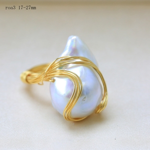 Image 3 - BaroqueOnly Handmade 15 30mm Big Baroque Beads Wire Wrapped Rings Natural Freshwater White Pearl Fashion Woman Party Jewelry ROA