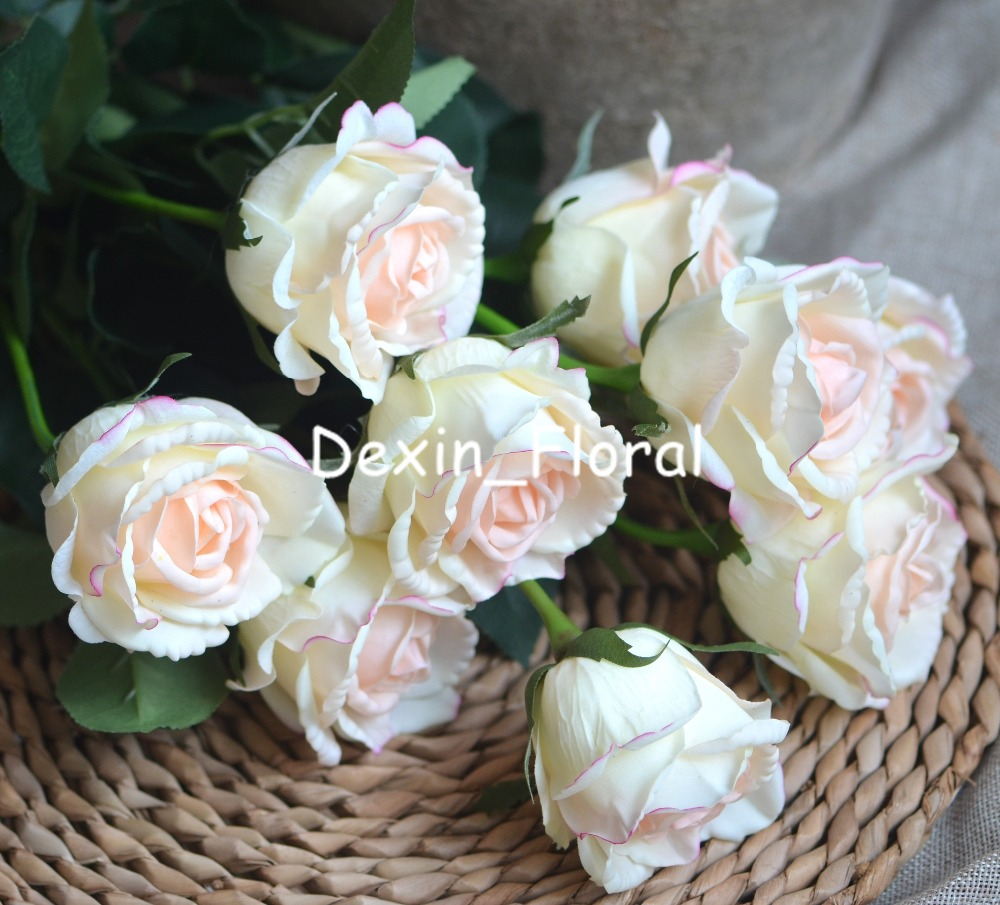 Light Blush Medium Roses Buds Real Touch Roses Blush Cream Ivory