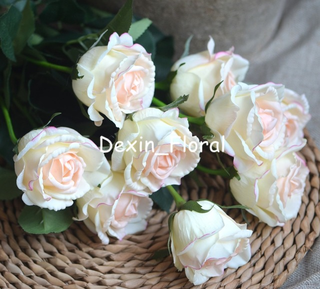 Light Blush Medium Roses Buds Real Touch Roses Blush Cream Ivory ...