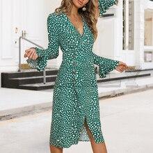 CUERLY Vintage polka dot women dress Print v neck ruffle midi summer female vestido Sexy green bodycon ladies party festa