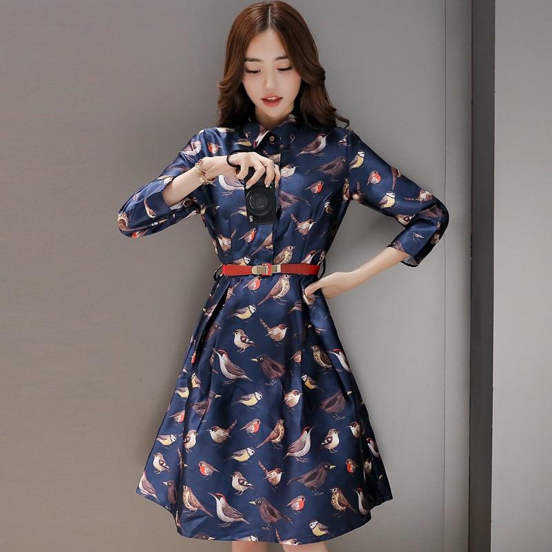 New 2016 Fashion Birds Printed Dress Women Autumn A line Loose Cute ...