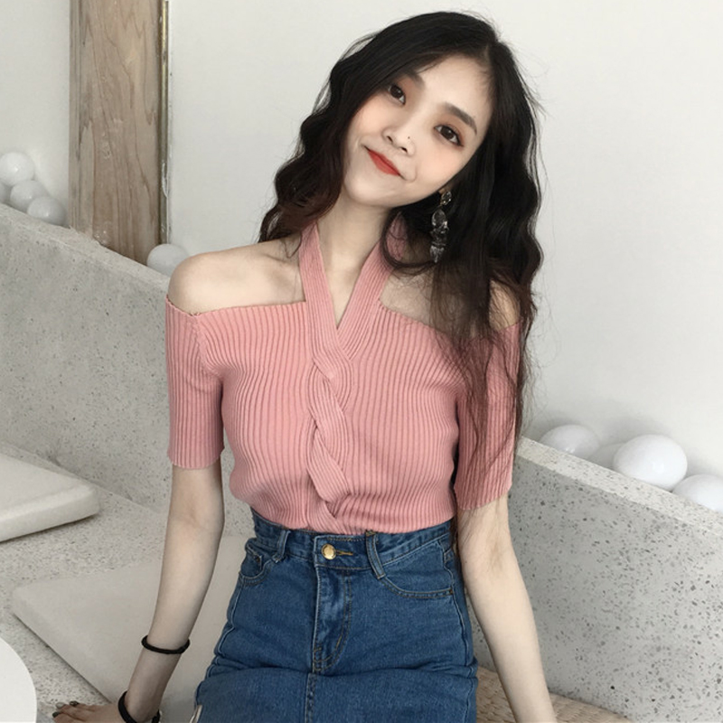 Winter Sexy Women Long sleeve Halter Off Shoulder Backless Knitting Sweater Shirt Solid Slim Elastic Basic Tops Pullovers Tees in Pullovers from Women 39 s Clothing